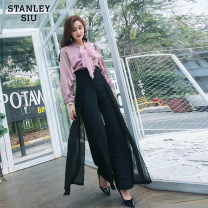 Casual pants Black, apricot S,M,L,XL Summer of 2018 trousers Wide leg pants High waist street Thin money 18-24 years old Collage polyester fiber Europe and America
