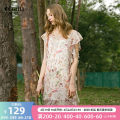 Dress Summer 2017 Decor L,XL,S,M Middle-skirt singleton  Short sleeve Crew neck Decor Socket Lotus leaf sleeve 25-29 years old Type H OLrain Ruffles, lace up, print 07XLA3106 other polyester fiber