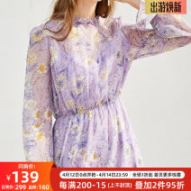 Dress Spring of 2019 lilac colour S,M,L,XL longuette Two piece set three quarter sleeve commute Crew neck middle-waisted Broken flowers Single breasted A-line skirt routine 25-29 years old Type A OLrain lady bow 9CLC18223 More than 95% polyester fiber