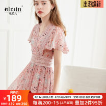 Dress Summer of 2019 Yellow, apricot, pink, apricot pink, pink 1, blue and white bar S,M,L,XL longuette singleton  Short sleeve commute V-neck High waist Broken flowers Socket A-line skirt Lotus leaf sleeve 18-24 years old Type A OLrain Retro Hollowed out, embroidered, stitched 9XLB23635 Chiffon