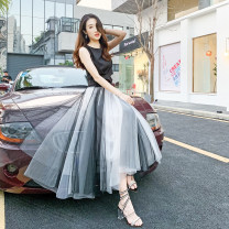 skirt Summer of 2019 M,L,XL,2XL,3XL,4XL Black + white, black + gray, black + pink, gray + blue Mid length dress commute High waist Pleated skirt Solid color Type A Other / other Three dimensional decoration Korean version