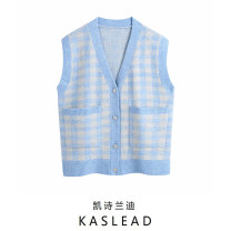 Wool knitwear Winter 2020 S,M,L blue Sleeveless Cardigan other 71% (inclusive) - 80% (inclusive) Regular street V-neck routine lattice Single breasted Button Europe and America