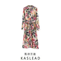Dress Winter 2020 Leaf print, Rose Print S,M,L Mid length dress Long sleeves street Polo collar Decor Single breasted routine printing Europe and America
