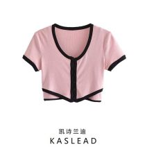 Wool knitwear Summer 2021 S,M,L Pink Short sleeve Two piece set Cardigan other 71% (inclusive) - 80% (inclusive) have cash less than that is registered in the accounts street routine Single breasted Button Europe and America