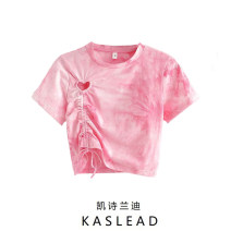 T-shirt Pink S,M,L Summer 2020 Short sleeve Crew neck Self cultivation have cash less than that is registered in the accounts routine street cotton 86% (inclusive) -95% (inclusive) Pleating Europe and America