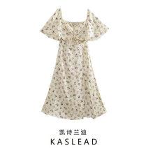 Dress Spring 2021 Vanilla XS,S,M,L Mid length dress Short sleeve street Broken flowers Socket printing Europe and America
