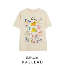 T-shirt Beige S,M,L Autumn 2020 Short sleeve Crew neck Straight cylinder Regular routine street cotton 86% (inclusive) -95% (inclusive) youth Cartoon animation Europe and America