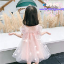 Dress Summer 2021 Pink, white 80,90,100,110,120,130 Mid length dress singleton  Sleeveless Sweet square neck Loose waist Animal design Socket camisole Under 17 More than 95% cotton princess