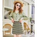 skirt Spring 2021 XS,S,M,L Dark green Short skirt Retro High waist A-line skirt lattice Type A 18-24 years old More than 95% linjou polyester fiber zipper