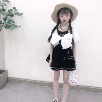 suit Other / other black 100cm,110cm,120cm,130cm,140cm,150cm female spring and autumn leisure time Short sleeve + pants 2 pieces routine No model nothing stripe corduroy Other 100% Chinese Mainland
