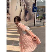 Dress Summer 2021 Average size Mid length dress singleton  Short sleeve commute Crew neck Solid color Socket A-line skirt routine 18-24 years old Type A formlala Korean version 81% (inclusive) - 90% (inclusive) cotton
