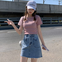skirt Summer 2021 S,M,L,XL Black, light blue Short skirt commute High waist A-line skirt Solid color Type A More than 95% Denim MAJE BRIAN cotton Pocket, button Korean version