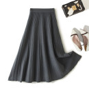 skirt Winter of 2019 Average size grey Mid length dress Versatile High waist Pleated skirt Solid color Type A 30% and below knitting wool