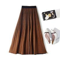skirt Winter of 2019 One size fits all (skirt length 68cm), one size fits all (skirt length 75cm), one size fits all (skirt length 85CM) Black grey, camel, caramel, pure black longuette Versatile High waist Pleated skirt Solid color Type A 30% and below knitting wool