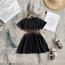 Dress black female Other / other 80cm,90cm,100cm,110cm,120cm,130cm,140cm,150cm Other 100% summer Korean version Short sleeve Solid color other A-line skirt Class B 18 months, 2 years old, 3 years old, 4 years old, 5 years old, 6 years old Chinese Mainland