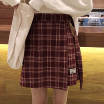skirt Summer 2021 S,M,L Black, red, yellow Short skirt commute High waist A-line skirt lattice Type A 18-24 years old 30% and below other Button, patch Korean version