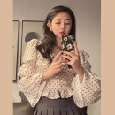 Lace / Chiffon Spring 2021 Apricot bottom floret, safflower S,M,L Long sleeves commute singleton  Self cultivation have cash less than that is registered in the accounts square neck pagoda sleeve 18-24 years old Button Korean version 30% and below