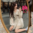 Dress Spring 2021 One piece dress, one piece waist cover Average size Short skirt singleton  Long sleeves commute V-neck High waist Broken flowers Socket A-line skirt puff sleeve Others 18-24 years old Type A Korean version Frenulum 3593# 30% and below other other