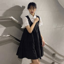Dress Summer 2021 Black vest skirt, white shirt S. M, l, average size Short skirt singleton  Sleeveless commute High waist Solid color Socket A-line skirt Others 18-24 years old Type A Korean version 30% and below other other