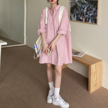 Dress Spring 2021 Green, pink Average size Middle-skirt singleton  Long sleeves commute Polo collar Loose waist other other A-line skirt routine Others 18-24 years old Type H Korean version Pocket, button 30% and below other other