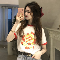 T-shirt Red, yellow, pink Average size Summer 2021 Short sleeve Crew neck easy Regular routine commute cotton 96% and above 18-24 years old Korean version originality Cartoon animation printing