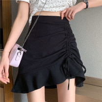 skirt Summer 2021 S,M,L Black, white Short skirt commute High waist A-line skirt Solid color Type A 18-24 years old bow Korean version