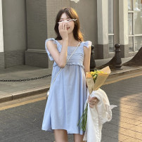 Dress Summer 2021 Top piece, white strap skirt piece, blue strap skirt piece Average size Short skirt singleton  Long sleeves commute square neck Loose waist Solid color Socket A-line skirt Flying sleeve straps 18-24 years old Type A Korean version fold 30% and below other polyester fiber