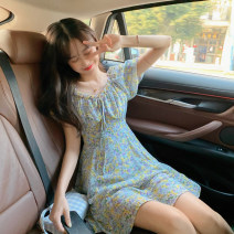 Dress Summer 2021 Floral skirt Average size Short skirt singleton  Short sleeve commute square neck High waist Broken flowers Socket A-line skirt puff sleeve Others 18-24 years old Type A Korean version 30% and below other other