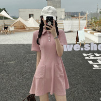 Dress Summer 2021 Black, green, pink S,M,L Short skirt singleton  Short sleeve commute Polo collar middle-waisted Solid color Single breasted A-line skirt routine 18-24 years old Type A Korean version Button 30% and below other other
