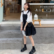 Dress Spring 2021 Shirt piece, suspender skirt piece Average size Short skirt singleton  Sleeveless commute Loose waist Solid color Single breasted A-line skirt camisole 18-24 years old Type A Korean version 30% and below other other