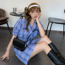 Dress Summer 2021 lattice Average size Short skirt singleton  Short sleeve commute Polo collar High waist lattice double-breasted A-line skirt puff sleeve Others 18-24 years old Type A Retro Button 30% and below other other