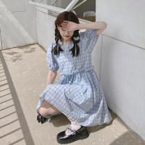 Dress Summer 2021 Dream purple green lattice S,M,L Short skirt singleton  Short sleeve Sweet Crew neck High waist lattice Socket A-line skirt puff sleeve Others 18-24 years old Type A 30% and below other other solar system