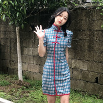 Dress Summer 2021 lattice S,M,L Short skirt singleton  Short sleeve commute stand collar High waist lattice Socket One pace skirt routine Others 18-24 years old Type A Retro 30% and below other other
