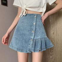 skirt Summer 2021 S,M,L blue Short skirt commute High waist Denim skirt Solid color Type A 18-24 years old 30% and below other other Korean version