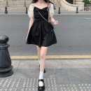 Dress Summer 2021 Dress piece, coat piece S,M,L Short skirt singleton  Short sleeve commute square neck High waist Socket A-line skirt puff sleeve 18-24 years old Type A Korean version bow 30% and below other other