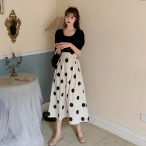 skirt Summer 2021 S. M, average size Black knitted top piece, Xingbo dot skirt piece longuette commute High waist A-line skirt Dot Type A 18-24 years old 30% and below other other Korean version