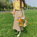 skirt Summer 2021 Average size Yellow jacket piece, purple jacket piece, yellow floral skirt piece, purple floral skirt piece longuette commute High waist A-line skirt Broken flowers Type A 18-24 years old 30% and below other other Korean version