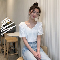 T-shirt White, pink, Navy, watermelon red, black Average size Summer 2021 Short sleeve V-neck easy Regular routine commute cotton 96% and above 18-24 years old Korean version youth Solid color