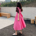 Dress Summer 2021 Pink dress single, floral shirt single Average size longuette Two piece set Sleeveless commute V-neck Loose waist Solid color Socket A-line skirt other straps 18-24 years old Type A Korean version Button 30% and below other other