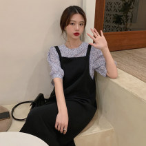 Dress Summer 2021 Apricot jacket piece, blue jacket piece, khaki strap skirt piece, black strap skirt piece Average size longuette singleton  Sleeveless commute Loose waist Solid color Socket A-line skirt straps 18-24 years old Type H Korean version 30% and below other other
