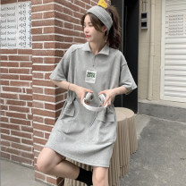 Dress Summer 2021 Gray, black Average size Short skirt singleton  Short sleeve commute Polo collar High waist Solid color Socket A-line skirt routine Others 18-24 years old Type A Korean version 30% and below other other