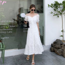 Dress Summer 2021 white S,M,L longuette singleton  Short sleeve commute square neck High waist Solid color Socket A-line skirt puff sleeve Others 18-24 years old Type A Korean version Button 30% and below other other