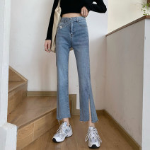 Jeans Spring 2021 wathet S,M,L,XL Ninth pants High waist Flared trousers routine 18-24 years old Zippers, buttons, stickers, multiple pockets Dark color