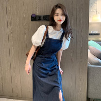 Dress Spring 2021 One piece of jacket and one piece of skirt S,M,L Mid length dress singleton  Sleeveless commute middle-waisted Solid color A-line skirt routine 18-24 years old Type A