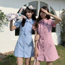Dress Summer 2021 Green, blue, black, pink S,M,L Short skirt singleton  Short sleeve commute Polo collar High waist Solid color Single breasted A-line skirt routine Others 18-24 years old Type A Korean version Button 30% and below other other