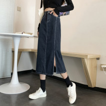 skirt Spring 2021 S,M,L,XL blue longuette commute High waist Denim skirt Solid color Type A 18-24 years old 30% and below other other Button Korean version