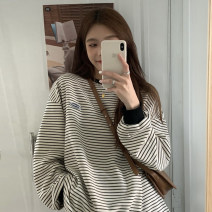 T-shirt White, black Average size Spring 2021 Long sleeves Crew neck easy Medium length routine commute cotton 96% and above 18-24 years old Korean version youth Thin horizontal stripe