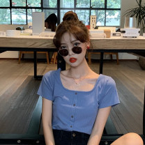T-shirt Green, blue, yellow, black S, M Summer 2021 Short sleeve square neck Self cultivation have cash less than that is registered in the accounts routine commute cotton 96% and above 18-24 years old Korean version Solid color