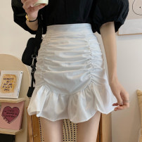 skirt Summer 2021 S,M,L Black, white Short skirt commute High waist A-line skirt Solid color Type A 18-24 years old 30% and below other Pleating Korean version