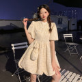 Dress Summer 2021 Short skirt singleton  Short sleeve commute stand collar High waist Broken flowers Condom A-line skirt puff sleeve Others 18-24 years old Type A Retro 9029 30% and below other other S,M,L